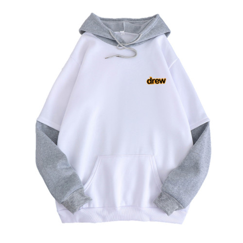 Drew Fashion Fake Two Pieces Contrast Color Long Sleeves Unisex Hooded Sweatshirt Hoodie