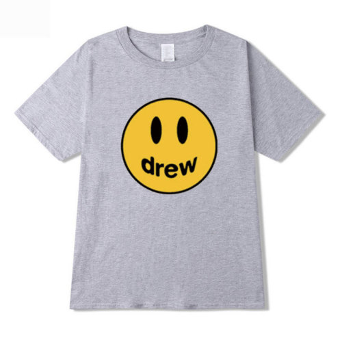 Adults Youth Drew Smile Face Print Short Sleeve T-shirt Unisex Comfy Tee