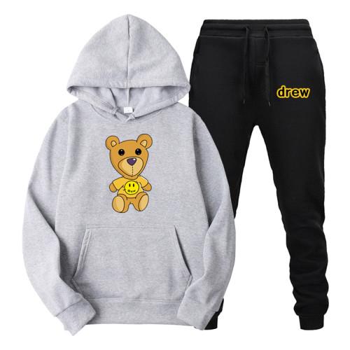 Drew Smile Hoodie Bear Print Fashion Long Sleeves Hoodie And Jogger Pants Suit