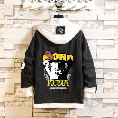 Danganronpa Fake Two Piece Denim Jacket Hoodie Youth Adulst Street Style Fall Winter Coat