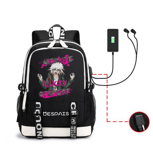 Danganronpa Students Backpack With USB Interface Trendy School Bookbag Computer Backpack