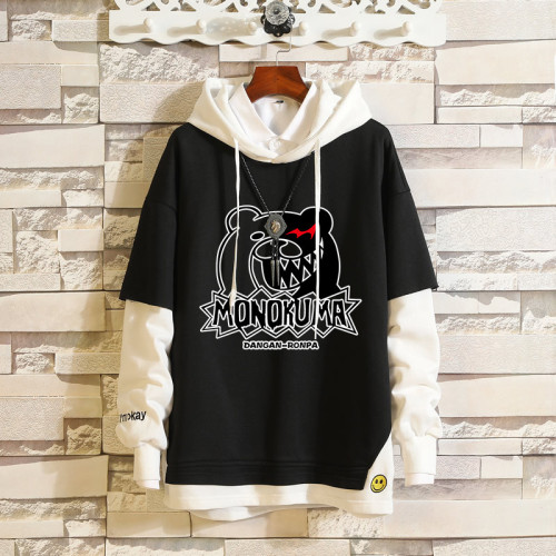Danganronpa Hoodie Trendy Fake Two Piece Cotton Hooded Sweatshirt Long Sleeve For Fall and Winter
