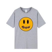 Drew Smile Face Print Fashion Loose Short Sleeve T-shirt Unisex Comfy Tee