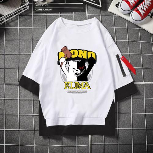Danganronpa Fake Two Piece T-shirt Black and White Casual Oversize Cotton Tee
