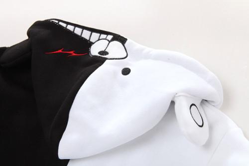 Danganronpa Monokuma Black and White Jacket Zip Up Hooded Fleece Jacket Coat