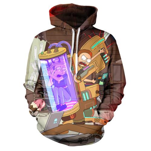Rick and Morty Sweatshirt Hooded Long Sleeve Casual Tops 3-D Hoodie
