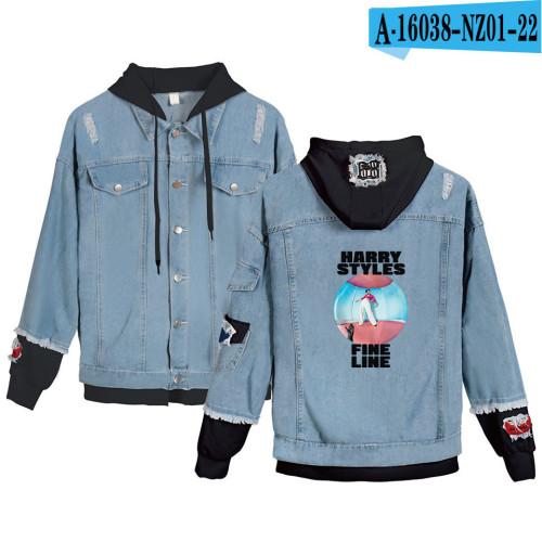 Harry Styles Fake Two Piece Hooded Jacket Jean Coat Trendy Fall Winter Denim Jacket