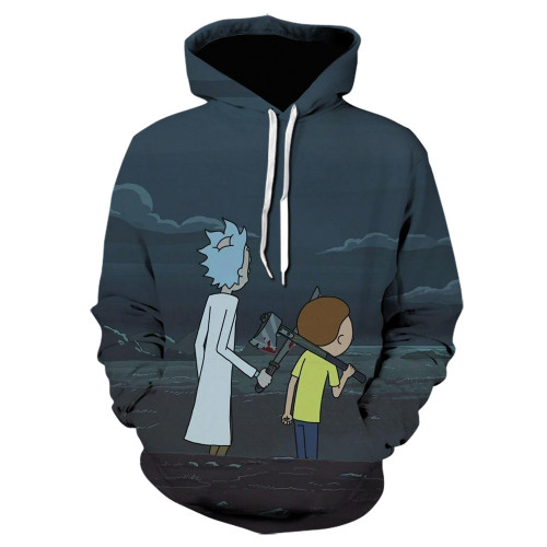Rick and Morty Hoodie 3-D Color Casual Hooded Sweatshirt For Fall Winter