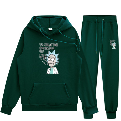 Rick and Morty Sweatsuit Unisex Hoodie and Sweatpants Set Fall Winter Sweatsuit Outfit