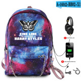 Harry Styles Galaxy Color Backpack Students Bookbag Trendy Backpacks With USB Interface