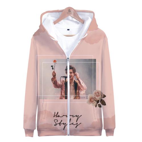 Harry Styles 3-D Zipper Jacket Unisex Hooded Long Sleeve Zip Up Jacket Coat With Fleece Inside