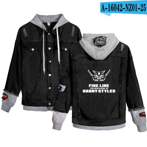 Harry Styles Fake Two Piece Denim Jacket Cool Youth Adults Hooded Denim Jacket