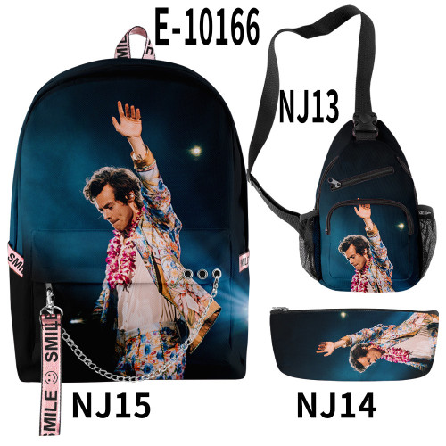 Harry Styles Youth Backpacks Set Students Backpack and Cross Shoulder Bag and Pencil Bag Set
