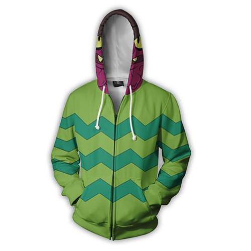 Rick and Morty Cosplay Costume Jacket Zip Up Hooded Long Sleeve Jacket Coat