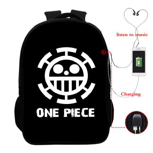Anime One Piece 3-D Youth Teens Backpack Shcool Bookbag With USB Charging Interface