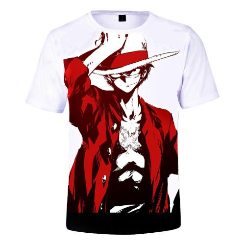 Anime One Piece 3-D Short Sleeve T-shirt Fans Tee