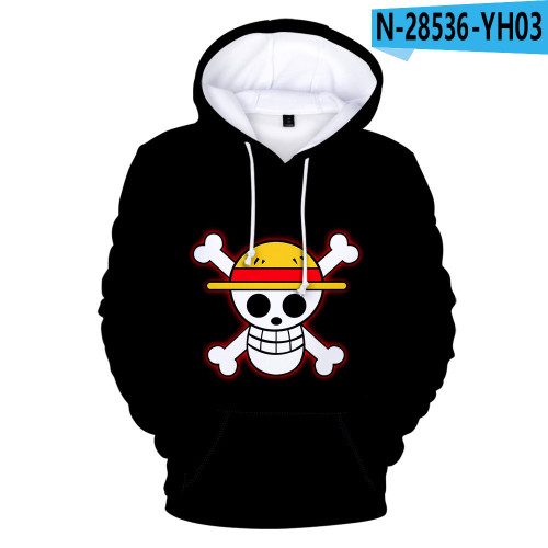 Anime One Piece 3-D Hoodie Casual Street Style Trendy Hooded Tops