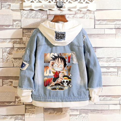 Anime One Piece Denim Jacket Hooded Jacket Coat Fake Two Piece Winter Fall Jean Jacket