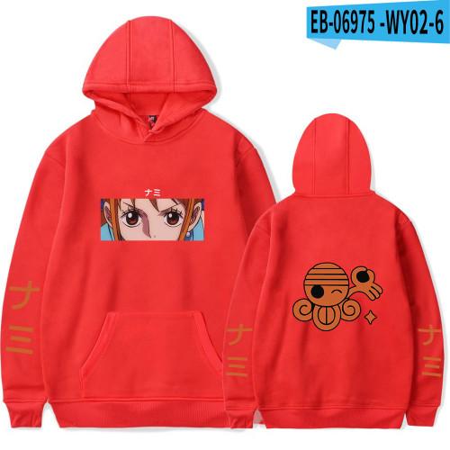 Anime One Piece Nami Print Hoodie Youth Adults Casual Long Sleeve Fleece Hoodie
