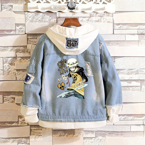 Anime One Piece Denim Jacket Fake Two Piece Casual Hooded Jacket Coat Street Style Outfit