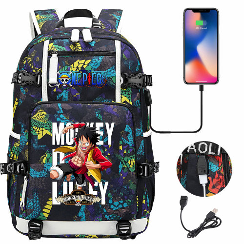 Anime One Piece Rucksack Cool Backpack High Quality Backpacks With USB Charging Interface