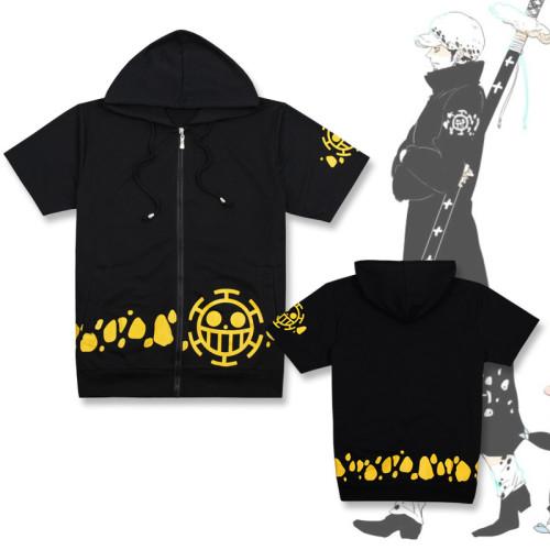Anime One Piece Zipper Hooded Short Sleeve T-shirt Cosplay Costume