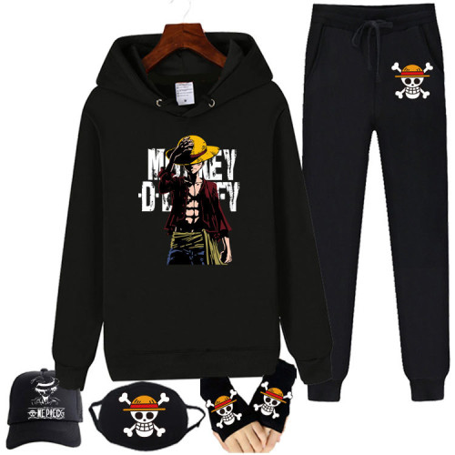 Anime One Piece Fleece Sweatsuits 5PCS Set Hoodie and Sweatpants With Mask Hat and Gloves
