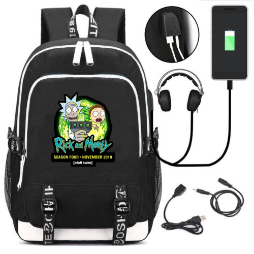 Rick and Morty Backpack School Backpack Bookbag With USB interface