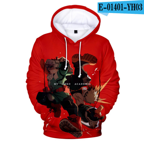 My Hero Academia 3-D Characters Print Hoodie Casual Fall and Winter Sweatshirt Fans Gift