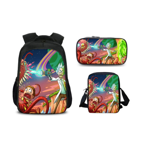 Rick and Morty Backpack Set 3pcs Stundents Backpack With Lunch Bag and Pencil Bag Set