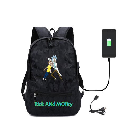 Rick and Morty School Trendy Backpack With USB Charging Port Black Students Bookbag
