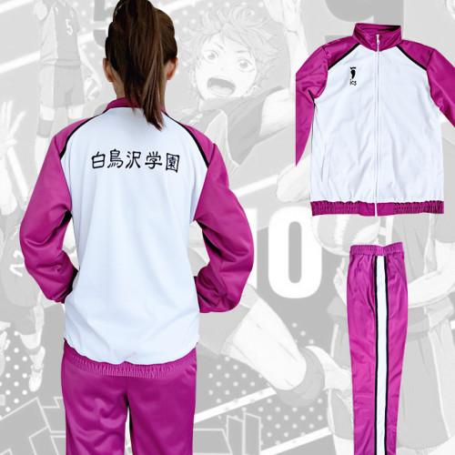 Anime Haikyuu!! Shiratorizawa Academy Cosplay Costume Unisex Long Sleeve Jacket and Sweatpants Set Volleyball Team Cosplay Uniform