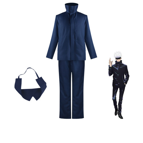 Anime Jujutsu Kaisen Costumes Gojo Satoru Black/Blue Cosplay Uniform Halloween Costume