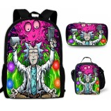 Rick and Morty Students 3pcs Backpack Set 3-D Bookbag With Lunch Bag and Pencil Bag Set