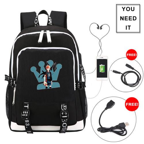 Anime Haikyuu!! Karasuno Backpack Students School Backpack Computer Backpack With USB Charging Port