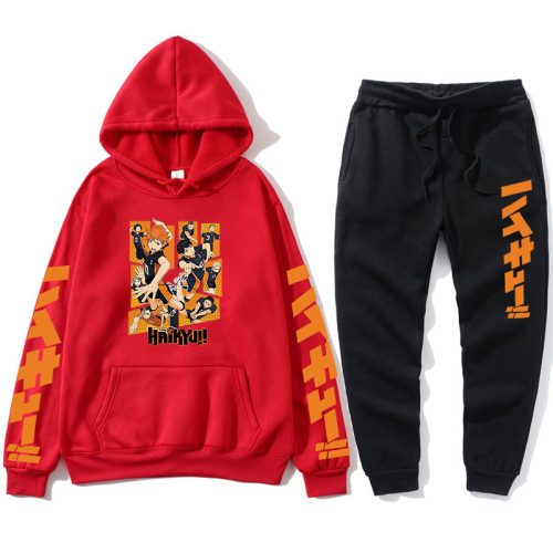 Anime Haikyuu!! Karasuno Sweatsuit Cozy Fleece Hoodie and Sweatpants Set Unisex Youth Adults