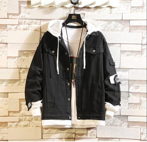 Anime Haikyuu!! Karasuno Fake Two Piece Denim Jacket Black Jean Jacket Hooded Winter Fall Coat