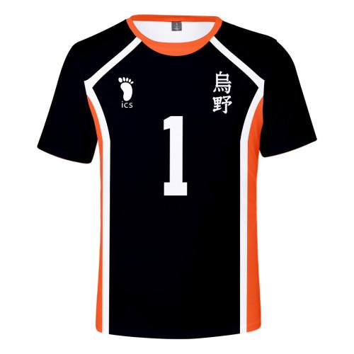 Anime Haikyuu!! Karasuno Volleyball Team T-shirt 3-D Print Cosplay Costume