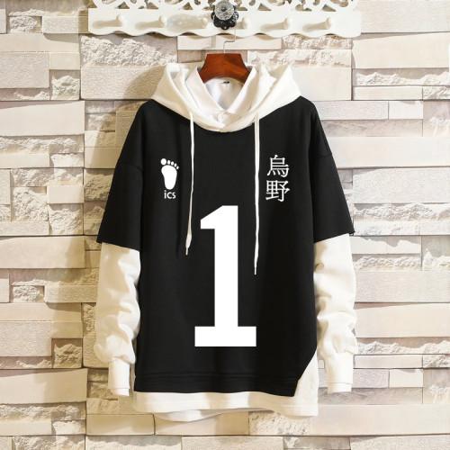 Anime Haikyuu!! Karasuno Fake Two Piece Hoodie Long Sleeve Sweatshirt Casual Streetwear