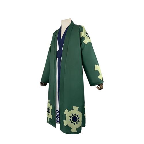 Anime One Piece Roronoa Zoro Cosplay Costume Halloween Green Costume Full Set Kimono Costume