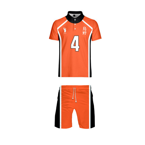 Anime Haikyuu!! Karasuno High Volleyball Team Jersey Suit Short Sleeve Tee and Shorts Set