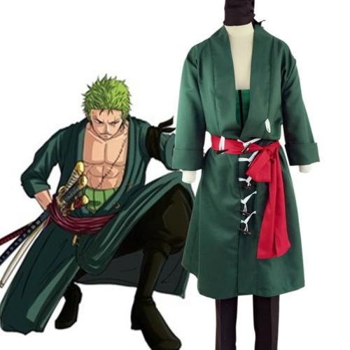 Anime One Piece Cosplay Costume Roronoa Zoro Green Costume Full Set Halloween Costume