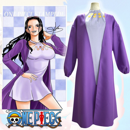 Anime One Piece STAMPEDE Nico Robin Cosplay Costume Purple Halloween Costume Outfit