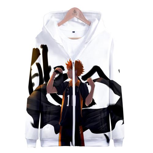 Anime Haikyuu!! Karasuno Fall Winter Zipper Jacket Hooded Fleece Zip Up Jacket Coat
