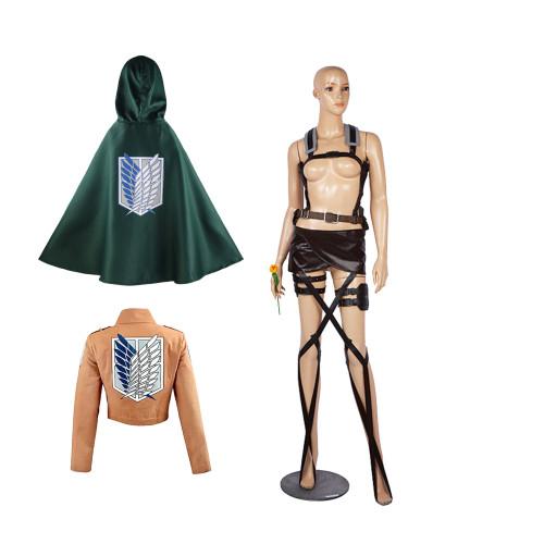 Attack On Titan Scout Regiment Cosplay Costume Full Set Ackerman Eren Halloween Cosplay Set 4pcs