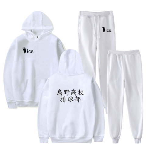 Anime Haikyuu!! Karasuno Fall Winter Sweatsuit Long Sleeve Fleece Hoodie and Sweatpants Set