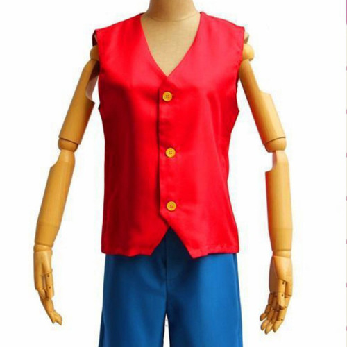 Anime One Piece Cosplay Costume Two Years Ago Luffy Generation 1 Costume Vest and Shorts Set