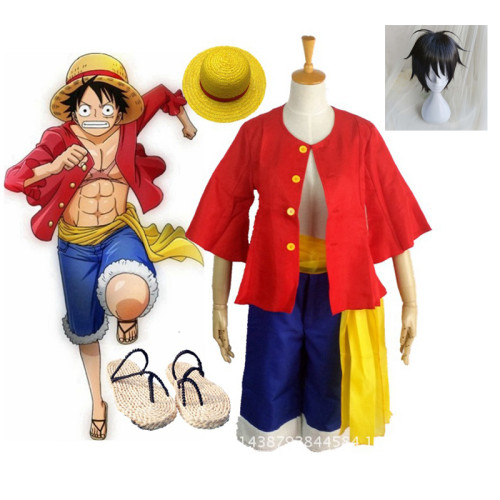 Anime One Piece Cosplay Costume Monkey D. Luffy Halloween Cosplay Costume Full Set With Hat and Shoes and Wigs