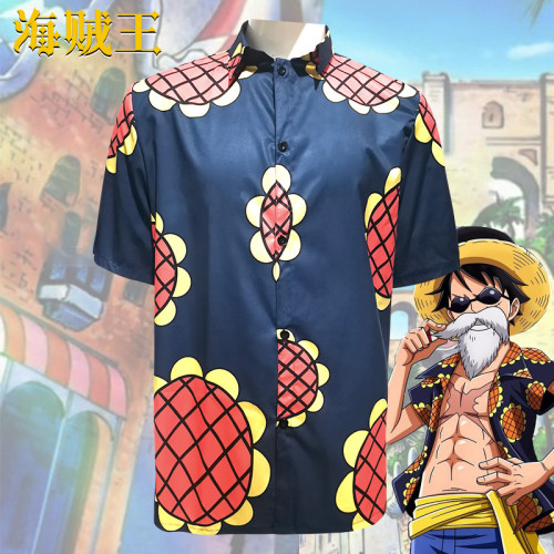 Anime One Piece Luffy Costume Sunflower Print Short Sleeve Shirt Costume