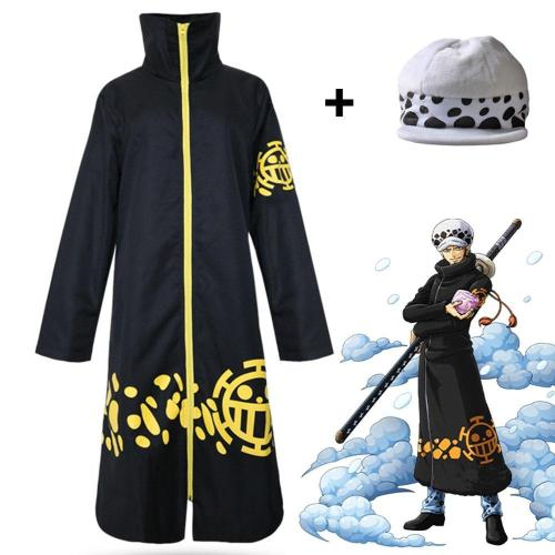 Anime One Piece Two Years Later Trafalgar Law Cosplay Costume Cloak With Hat Halloween Costume Hat